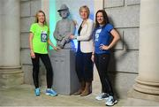 14 May 2018; In attendance at the launch of the 39th running of the SSE Airtricity Dublin Marathon is Senator Ivana Bacik, Chairperson of the Vótáil 100 Committee, centre, Lizzie Lee, left, and Caitriona Jennings, alongside the Countess Markievicz Statue at the Houses of the Oireachtas in Dublin. 2018, this will mark and celebrate female runners, linking with the nationwide commemoration of Vótáil 100. Constance Markievicz, a key campaigner for Irish women's voting rights, will appear on all finishers medals. Photo by Sam Barnes/Sportsfile