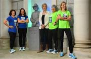 14 May 2018; In attendance at the launch of the 39th running of the SSE Airtricity Dublin Marathon is Senator Ivana Bacik, Chairperson of the Vótáil 100 Committee, with, from left, Mary Jennings, Caitriona Jennings, Mary Nolan Hickey and Lizzie Lee, alongside the Countess Markievicz Statue at the Houses of the Oireachtas in Dublin. 2018, will mark and celebrate female runners, linking with the nationwide commemoration of Vótáil 100. Constance Markievicz, a key campaigner for Irish women's voting rights, will appear on all finishers medals. Photo by Sam Barnes/Sportsfile