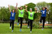 14 May 2018; In attendance at the launch of the 39th running of the SSE Airtricity Dublin Marathon are, from left, Mary Jennings, Lizzie Lee, Mary Nolan Hickey and Caitriona Jennings at Merrion Square in Dublin. 2018, will mark and celebrate female runners, linking with the nationwide commemoration of Vótáil 100. Constance Markievicz, a key campaigner for Irish women's voting rights, will appear on all finishers medals. Photo by Sam Barnes/Sportsfile