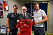 14 May 2018; Munster head coach Johann van Graan and captain Peter O'Mahony present a signed Munster jersey to Len Dineen of Limerick's Live 95fm in recognition of his retirement from sports broadcasting after 40 years of service during a Munster Rugby press conference at the University of Limerick in Limerick. Photo by Diarmuid Greene/Sportsfile