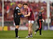 13 May 2018; Eoghan Kerin of Galway protests to referee Conor Lane during the Connacht GAA Football Senior Championship Quarter-Final match between Mayo and Galway at Elvery's MacHale Park in Mayo. Photo by Eóin Noonan/Sportsfile