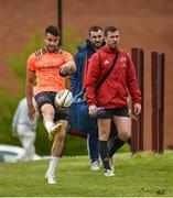 14 May 2018; Conor Murray, James Cronin and JJ Hanrahan make their way out for Munster Rugby squad training at the University of Limerick in Limerick. Photo by Diarmuid Greene/Sportsfile