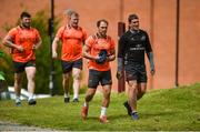 14 May 2018; Duncan Williams and Ian Keatley make their way out for Munster Rugby squad training at the University of Limerick in Limerick. Photo by Diarmuid Greene/Sportsfile