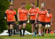 14 May 2018; Mike Sherry, Niall Scannell, Brian Scott and Jeremy Loughman make their way out for Munster Rugby squad training at the University of Limerick in Limerick. Photo by Diarmuid Greene/Sportsfile