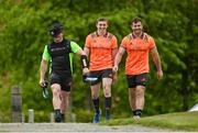 14 May 2018; Chris Cloete, Tommy O'Donnell and Jaco Taute make their way out for Munster Rugby squad training at the University of Limerick in Limerick. Photo by Diarmuid Greene/Sportsfile