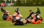 14 May 2018; Rory Scannell and CJ Stander stretch during Munster Rugby squad training at the University of Limerick in Limerick. Photo by Diarmuid Greene/Sportsfile