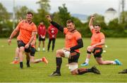 14 May 2018; CJ Stander, centre, Jaco Taute, left, and Brian Scott. right, stretch during Munster Rugby squad training at the University of Limerick in Limerick. Photo by Diarmuid Greene/Sportsfile