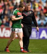 13 May 2018; Mayo manager Stephen Rochford speaking with Colm Boyle prior to the Connacht GAA Football Senior Championship Quarter-Final match between Mayo and Galway at Elvery's MacHale Park in Mayo. Photo by Eóin Noonan/Sportsfile