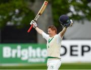 14 May 2018; Kevin O'Brien of Ireland celebrates after scoring a century during day four of the International Cricket Test match between Ireland and Pakistan at Malahide, in Co. Dublin. Photo by Seb Daly/Sportsfile