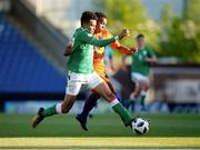 14 May 2018; Tyriek Wright of Republic of Ireland in action against Jurien Maduro of Netherlands during the UEFA U17 Championship Quarter-Final match between Netherlands and Republic of Ireland at Proact Stadium in Chesterfield, England. Photo by Malcolm Couzens/Sportsfile