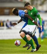 14 May 2018; Ismahil Akinade of Waterford in action against Sean Heaney of Bray Wanderers during the SSE Airtricity League Premier Division match between Bray Wanderers and Waterford at the Carlisle Grounds in Bray, Wicklow. Photo by Eóin Noonan/Sportsfile