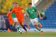 14 May 2018; Troy Parrott of Republic of Ireland in action against Bram Franken of Netherlands during the UEFA U17 Championship Quarter-Final match between Netherlands and Republic of Ireland at Proact Stadium in Chesterfield, England. Photo by Malcolm Couzens/Sportsfile