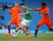 14 May 2018; Troy Parrott of Republic of Ireland in action against Quinten Maduro of Netherlands during the UEFA U17 Championship Quarter-Final match between Netherlands and Republic of Ireland at Proact Stadium in Chesterfield, England. Photo by Malcolm Couzens/Sportsfile