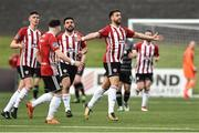 14 May 2018; Darren Cole of Derry City, right, celebrates after scoring his side's first goal during the SSE Airtricity League Premier Division match between Derry City and Dundalk at the Brandywell Stadium in Derry. Photo by Oliver McVeigh/Sportsfile