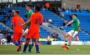 14 May 2018; Troy Parrott of Republic of Ireland shoots to score his side's goal during the UEFA U17 Championship Quarter-Final match between Netherlands and Republic of Ireland at Proact Stadium in Chesterfield, England. Photo by Malcolm Couzens/Sportsfile