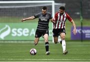 14 May 2018; Michael Duffy of Dundalk in action against Darren Cole of Derry City during the SSE Airtricity League Premier Division match between Derry City and Dundalk at the Brandywell Stadium in Derry. Photo by Oliver McVeigh/Sportsfile