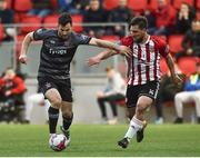 14 May 2018; Patrick Hoban of Dundalk in action against Gavin Peers of Derry City during the SSE Airtricity League Premier Division match between Derry City and Dundalk at the Brandywell Stadium in Derry. Photo by Oliver McVeigh/Sportsfile