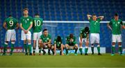 14 May 2018; Republic of Ireland players react after goalkeeper Jimmy Corcoran was sent off during the penalty shoot out during the UEFA U17 Championship Quarter-Final match between Netherlands and Republic of Ireland at Proact Stadium in Chesterfield, England. Photo by Malcolm Couzens/Sportsfile