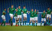 14 May 2018; Republic of Ireland players react after goalkeeper Jimmy Corcoran saved a penalty, but was subsequently sent off, during the penalty shoot out during the UEFA U17 Championship Quarter-Final match between Netherlands and Republic of Ireland at Proact Stadium in Chesterfield, England. Photo by Malcolm Couzens/Sportsfile