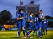 14 May 2018; Courtney Duffus of Waterford celebrates with team mates after scoring his side's second goal during the SSE Airtricity League Premier Division match between Bray Wanderers and Waterford at the Carlisle Grounds in Bray, Wicklow. Photo by Eóin Noonan/Sportsfile