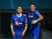 14 May 2018; Courtney Duffus of Waterford celebrates with team mate Gavan Holohan after scoring his side's second goal during the SSE Airtricity League Premier Division match between Bray Wanderers and Waterford at the Carlisle Grounds in Bray, Wicklow. Photo by Eóin Noonan/Sportsfile