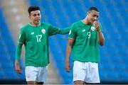 14 May 2018; Tyriek Wright, left, of Republic of Ireland consoles team-mate Adam Idah following the UEFA U17 Championship Quarter-Final match between Netherlands and Republic of Ireland at Proact Stadium in Chesterfield, England. Photo by Malcolm Couzens/Sportsfile