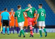 14 May 2018; Jimmy Corcoran, centre, of Republic of Ireland is consoled by team-mates Callum Thompson, left, and Jason Knight after being sent off during the penalty shoot out during the UEFA U17 Championship Quarter-Final match between Netherlands and Republic of Ireland at Proact Stadium in Chesterfield, England. Photo by Malcolm Couzens/Sportsfile