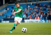 14 May 2018; Jason Knight of Republic of Ireland scores from penalty kick during the shoot out of the UEFA U17 Championship Quarter-Final match between Netherlands and Republic of Ireland at Proact Stadium in Chesterfield, England. Photo by Malcolm Couzens/Sportsfile