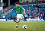 14 May 2018; Troy Parrott of Republic of Ireland scores from a penalty kick during the shoot out of the UEFA U17 Championship Quarter-Final match between Netherlands and Republic of Ireland at Proact Stadium in Chesterfield, England. Photo by Malcolm Couzens/Sportsfile