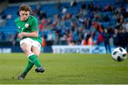14 May 2018; Callum Thompson of Republic of Ireland scores from a penalty kick during the shoot out of the UEFA U17 Championship Quarter-Final match between Netherlands and Republic of Ireland at Proact Stadium in Chesterfield, England. Photo by Malcolm Couzens/Sportsfile