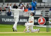 15 May 2018; Kevin O'Brien of Ireland, right, reacts after being caught by Haris Sohail of Pakistan, off of a delivery from Mohammad Abbas, left, during day five of the International Cricket Test match between Ireland and Pakistan at Malahide, in Co. Dublin. Photo by Seb Daly/Sportsfile