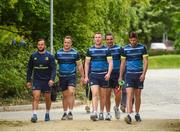 15 May 2018; Leinster players, from left, Jamison Gibson-Park, Bryan Byrne, Rory O'Loughlin, James Lowe and Ross Byrne arrive for Leinster Rugby squad training at UCD in Dublin. Photo by Eóin Noonan/Sportsfile