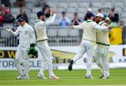 15 May 2018; Paul Stirling, right, is congratulated by Ireland captain William Porterfield after catching out Azhar Ali of Pakistan, off of a delivery from Tim Murtagh, during day five of the International Cricket Test match between Ireland and Pakistan at Malahide, in Co. Dublin. Photo by Seb Daly/Sportsfile