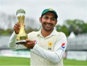 15 May 2018; Pakistan captain Sarfraz Ahmed with the Brighto trophy following his side's victory on day five of the International Cricket Test match between Ireland and Pakistan at Malahide, in Co. Dublin. Photo by Seb Daly/Sportsfile