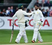15 May 2018; Imam-ul-Haq, right, and Shadab Khan, left, of Pakistan embrace following their side's victory on day five of the International Cricket Test match between Ireland and Pakistan at Malahide, in Co. Dublin. Photo by Seb Daly/Sportsfile