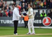 15 May 2018; Ireland captain William Porterfield shakes hands with umpire Richard Illingworth following play on day five of the International Cricket Test match between Ireland and Pakistan at Malahide, in Co. Dublin. Photo by Seb Daly/Sportsfile