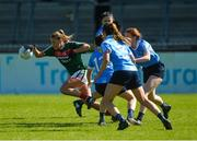 6 May 2018; Sarah Rowe of Mayo in action against Dublin's, from left, Lyndsey Davey, Deirdre Murphy and Lauren Magee during the Lidl Ladies Football National League Division 1 Final match between Dublin and Mayo at Parnell Park in Dublin. Photo by Piaras Ó Mídheach/Sportsfile