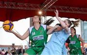 12 May 2018; Aine O'Connor of Liffey Celtics, Leixlip, in action against Bronagh Power Cassidy of DCU Mercy during #HulaHoops3x3 Ireland's first outdoor 3x3 Basketball championship brought to you by Hula Hoops and Basketball Ireland at Dundrum Town Centre in Dundrum, Dublin. Photo by Piaras Ó Mídheach/Sportsfile