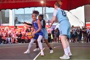 12 May 2018; Grainne Dwyer of Ambassador UCC Glanmire, Cork, in action against Tiffany Corselli, centre, and Bronagh Power Cassidy of DCU Mercy during #HulaHoops3x3 Ireland's first outdoor 3x3 Basketball championship brought to you by Hula Hoops and Basketball Ireland at Dundrum Town Centre in Dundrum, Dublin. Photo by Piaras Ó Mídheach/Sportsfile