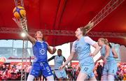 12 May 2018; Grainne Dwyer of Ambassador UCC Glanmire, Cork, in action against Bronagh Power Cassidy of DCU Mercy during #HulaHoops3x3 Ireland's first outdoor 3x3 Basketball championship brought to you by Hula Hoops and Basketball Ireland at Dundrum Town Centre in Dundrum, Dublin. Photo by Piaras Ó Mídheach/Sportsfile