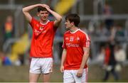 13 May 2018; Louth's Ciarán Downey, left, and Ross Nally dejected after the Leinster GAA Football Senior Championship Preliminary Round match between Louth and Carlow at O'Moore Park in Laois. Photo by Piaras Ó Mídheach/Sportsfile