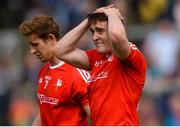13 May 2018; Louth's Hugh Osborne, front, and Anthony Williams dejected after the Leinster GAA Football Senior Championship Preliminary Round match between Louth and Carlow at O'Moore Park in Laois. Photo by Piaras Ó Mídheach/Sportsfile