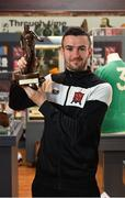 16 May 2018; Michael Duffy of Dundalk pictured with his SSE Airtricity/SWAI Player of the Month for April at Dundalk Museum, in Dundalk, Co. Louth. Photo by Oliver McVeigh/Sportsfile
