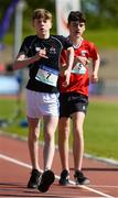 16 May 2018; Bill Costello of Belvedere College, Dublin, left, and Harrison Toal of CUS, Dublin, competing in the Junior Boys 1,200m Walk event during Day One of the Irish Life Health Leinster Schools Track and Field Championships at Morton Stadium, Swords Rd, in Santry, Dublin.   Photo by Piaras Ó Mídheach/Sportsfile