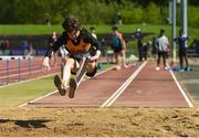 16 May 2018; Cillian Cahill, of St Pat's Navan, Co Meath, competing in the Junior Boys Long Jump event during Day One of the Irish Life Health Leinster Schools Track and Field Championships at Morton Stadium, Swords Rd, in Santry, Dublin.   Photo by Piaras Ó Mídheach/Sportsfile