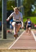 16 May 2018; Abi Sheehy of Loreto Navan, Co Meath, competing in the Junior Girls Long Jump event during Day One of the Irish Life Health Leinster Schools Track and Field Championships at Morton Stadium, Swords Rd, in Santry, Dublin.   Photo by Piaras Ó Mídheach/Sportsfile