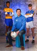 16 May 2018; Clare minor football player, Chiby Okoye, left, Sean Cavanagh and Tipperary minor hurling player, Jonny Ryan, are pictured at the launch of Electric Ireland's 'This is Major' campaign to support its sponsorship of the GAA Minor Championships. Four major GAA legends, Sean Cavanagh, Ollie Canning, Michael Fennelly and Daniel Goulding, have teamed up to form the Electric Ireland Minor Star Awards judging panel to shortlist Minor Player of the Week nominations for both hurling and football throughout the Championship. These Minor players will then go forward to be considered for inclusion on the Minor Hurling and Football teams of the Year which will be unveiled at the Electric Ireland Minor Star Awards in Croke Park in October. Photo by David Fitzgerald/Sportsfile