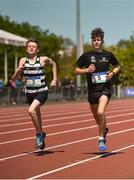 16 May 2018; Brogan McAlviney of St Kieran's College, Kilkenny, left, and Morgan Mac An Chléirigh of Coláiste Eoin, competing in the Junior Boys 1,500m event during Day One of the Irish Life Health Leinster Schools Track and Field Championships at Morton Stadium, Swords Rd, in Santry, Dublin.   Photo by Piaras Ó Mídheach/Sportsfile