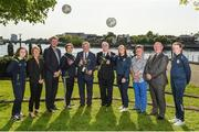 16 May 2018; Councillor Stephen Keary, Mayor of the City and County of Limerick, and Tony Fitzgerald, FAI President, with the cups and from left Clare O'Riordain from the Limerick County team, Sue Ronan, Head of Women's Football at the FAI, Seamus Leahy, Director of Marketing at the Fota Island Resort, Yasmin Reeves Wasiki from the from the Limerick County team, Alannah Mitchell from the Limerick Desmond team, Niamh O'Donoghue, FAI Board Member, Dave Connell, FAI Women's ETP Co-ordinator and Nicole McNamara from the Limerick Desmond team in attendance during the Gaynor Cup Launch at the Lord Mayor's Office, in City Hall, Merchants Quay, Limerick. Photo by Matt Browne/Sportsfile