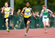 17 May 2018; Uyi Agbonayinma of Coláiste Einde, Salthill, Co. Galway, competing in the Junior  Boys 200m event during the Irish Life Health Connacht Schools Track and Field event at Athlone I.T., Athlone, Co. Westmeath. Photo by Harry Murphy/Sportsfile